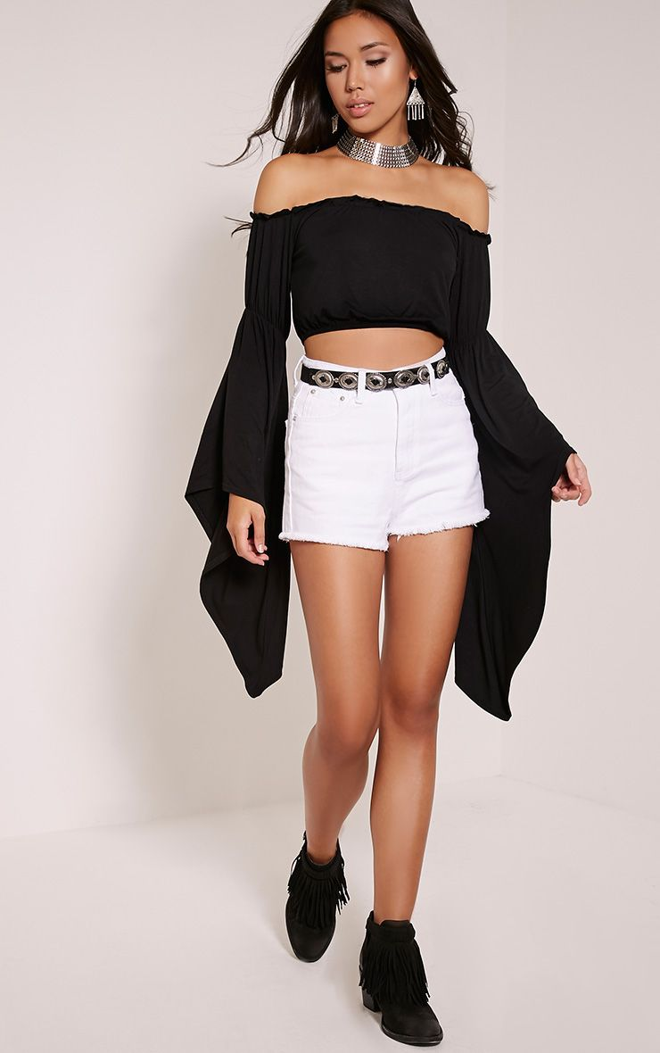 Shelby White High Waisted Denim Shorts 1