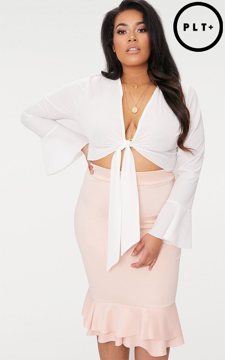 plus white tie front frill sleeve blouse