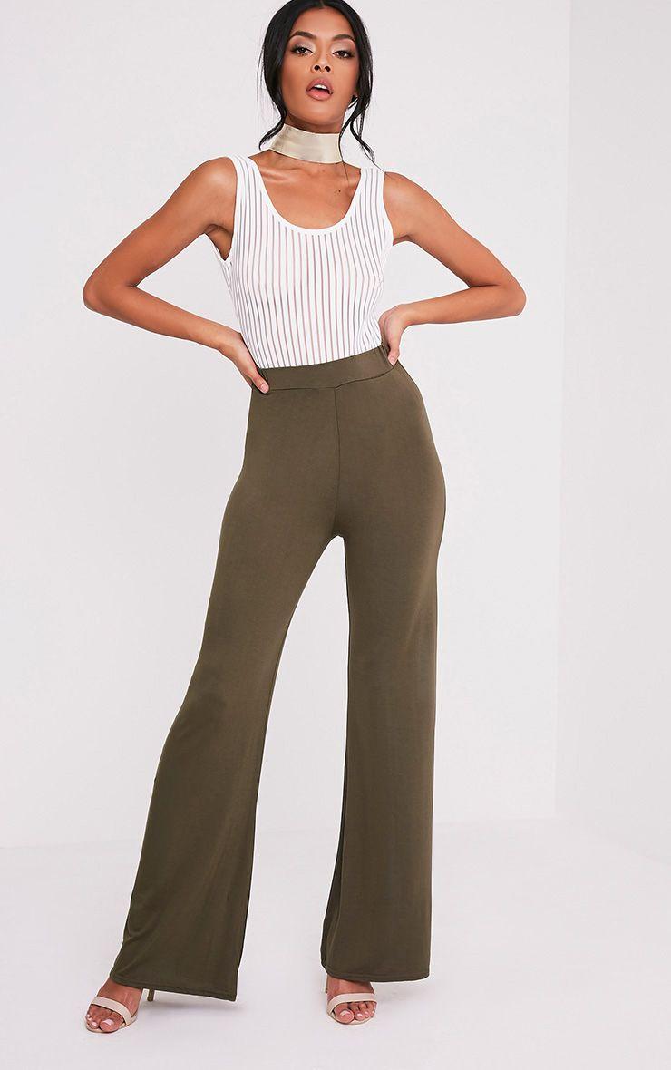 Basic pantalon jambes larges en jersey kaki 1