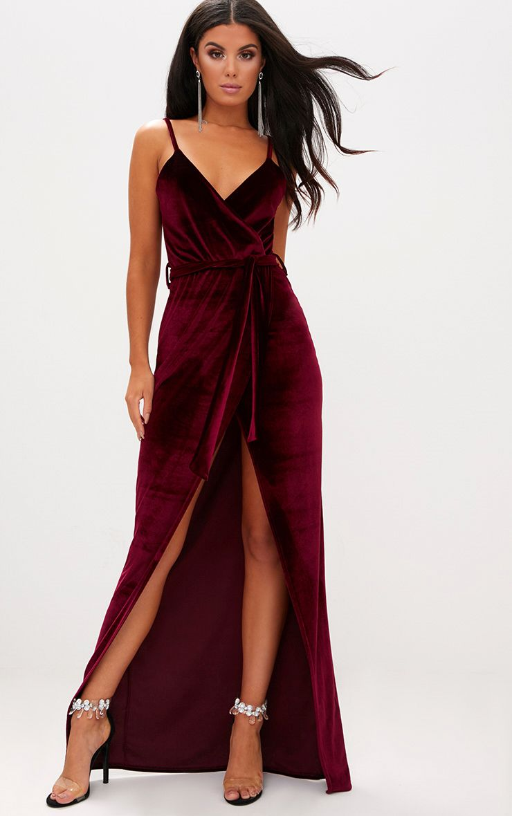 Burgundy Velvet Plunge Wrap Maxi Dress