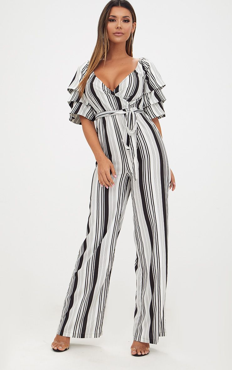 White Striped Frill Sleeve Jumpsuit