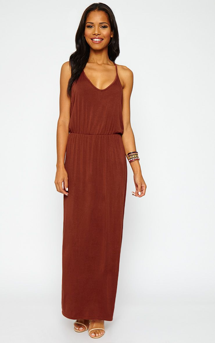 Emillie Rust T-Bar Back Jersey Maxi Dress 1