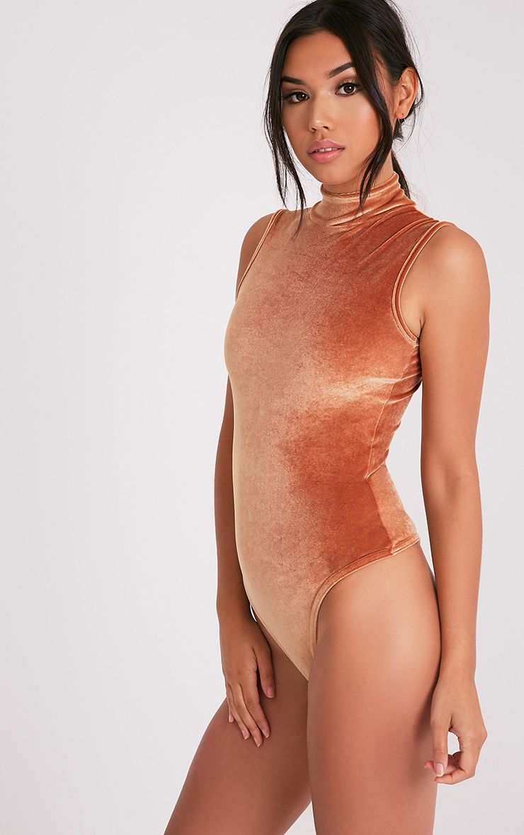 Charlyn body-string à col montant en velours orange rouille 5