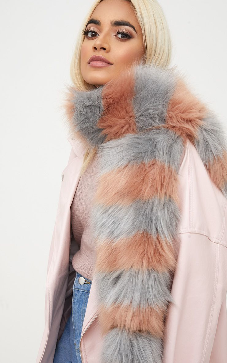 Grey and Peach Long Two Tone Faux Fur Scarf 2