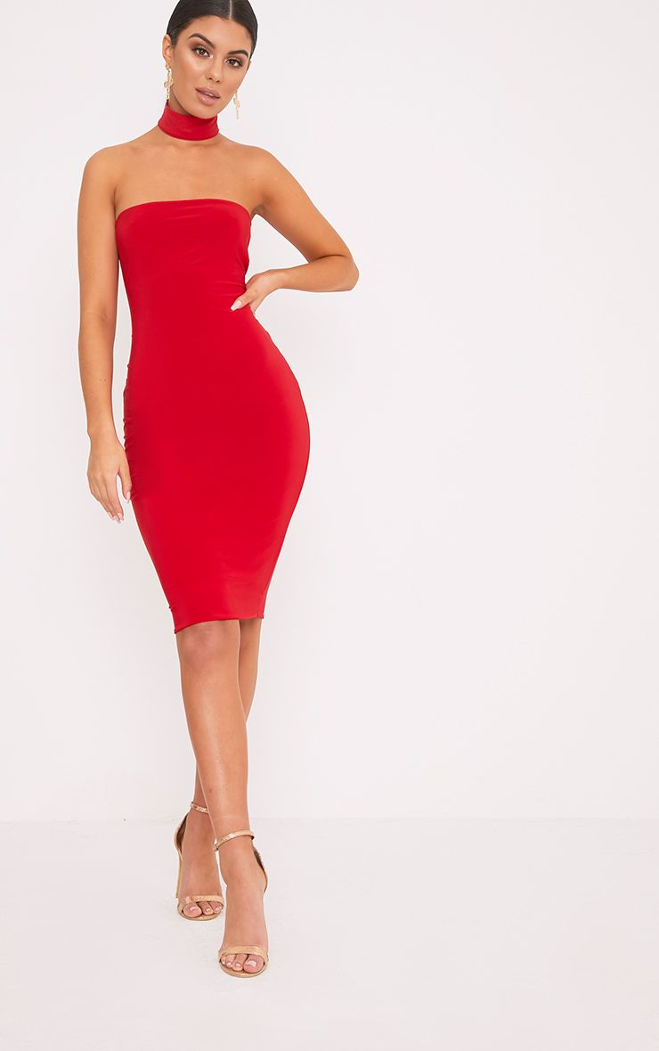 Ilana Red Slinky Choker Neck Midi Dress