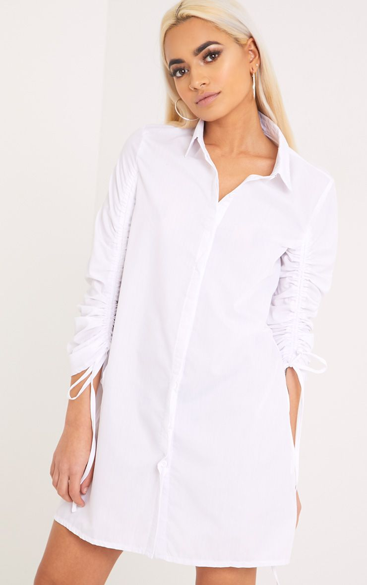 Mandie White Ruched Sleeve Shirt Dress
