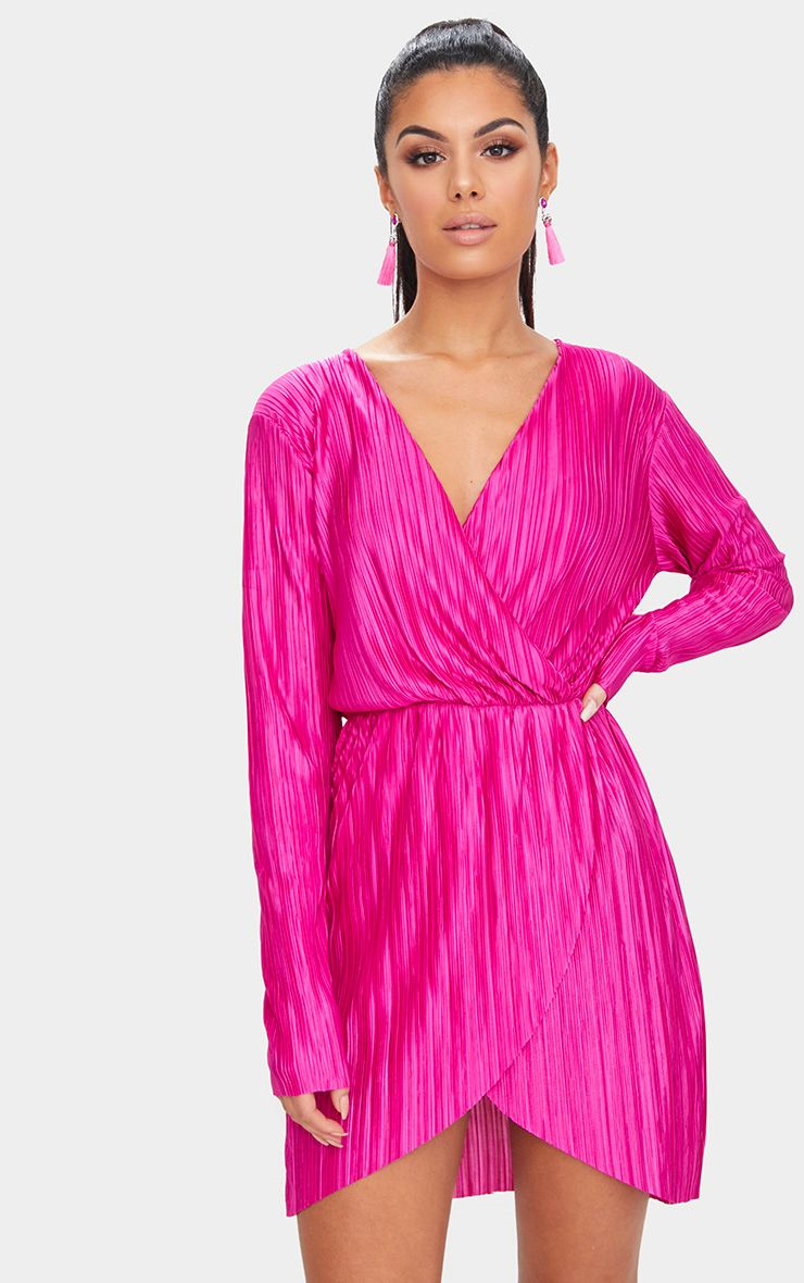 Womens clothes shop womens fashion prettylittlething usa hot pink long sleeved plunge pleated wrap dress ombrellifo Choice Image