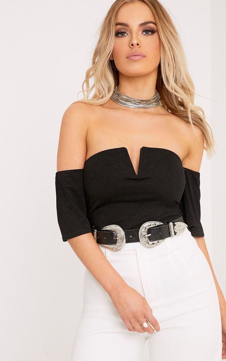 Cassandra Black Bandeau V Front Sleeved Thong Bodysuit