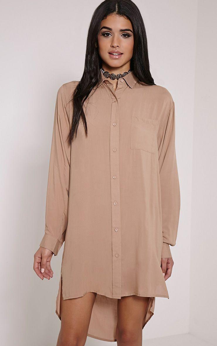 Agape Taupe Shirt Dress 1