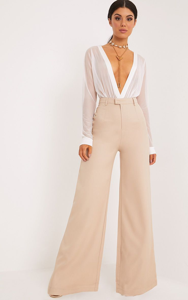 Reemah Stone Wide Leg Trousers