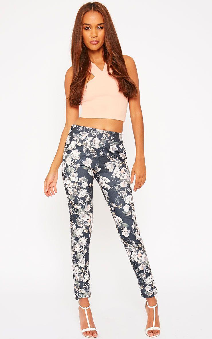 Saba Khaki Floral Trousers 1