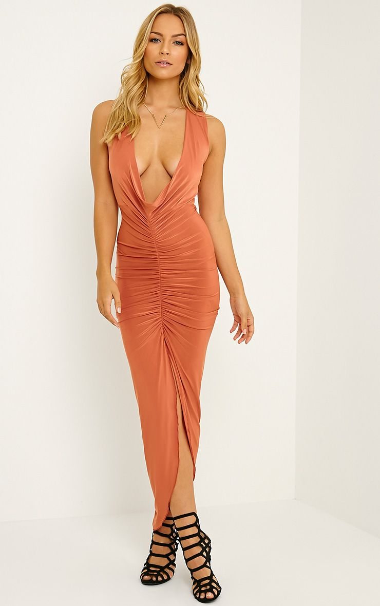 Meghan Burnt Orange Slinky Ruched Maxi Dress 1