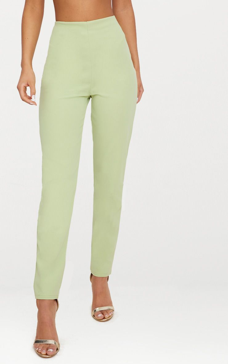 SAGE GREEN SLIM LEG CREPE TROUSERS