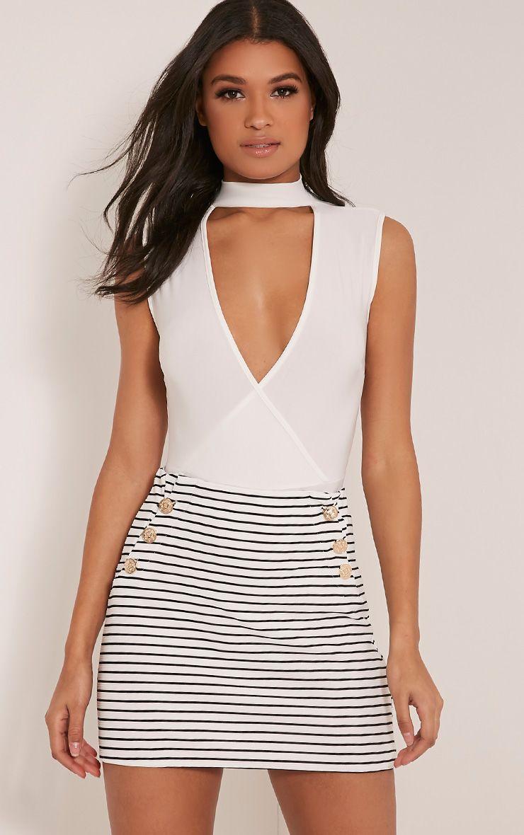 Krystine White Stripe Button Detail Mini Skirt