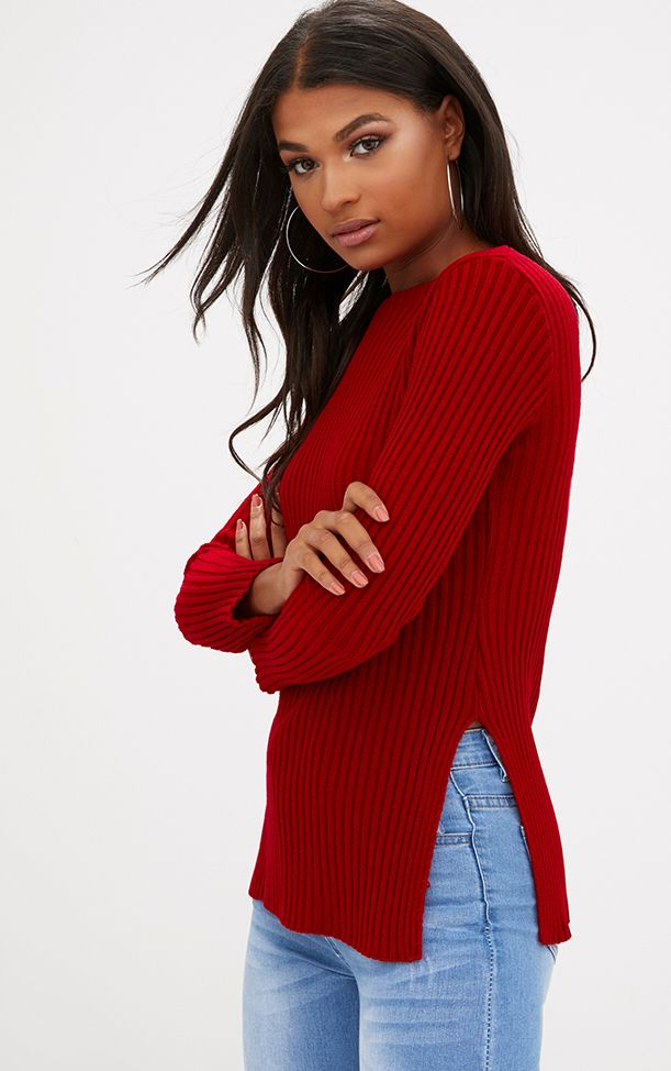 Red Ribbed Round Neck Side Split Jumper