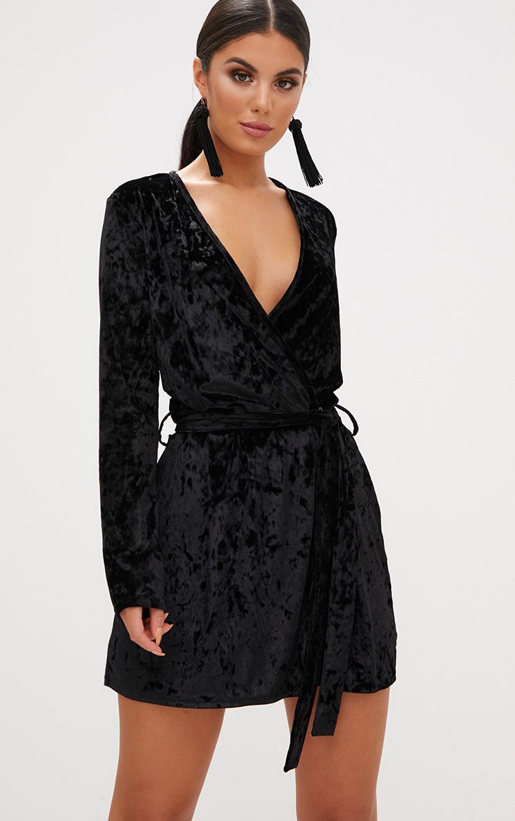 Black Velvet Wrap Over Shift Dress