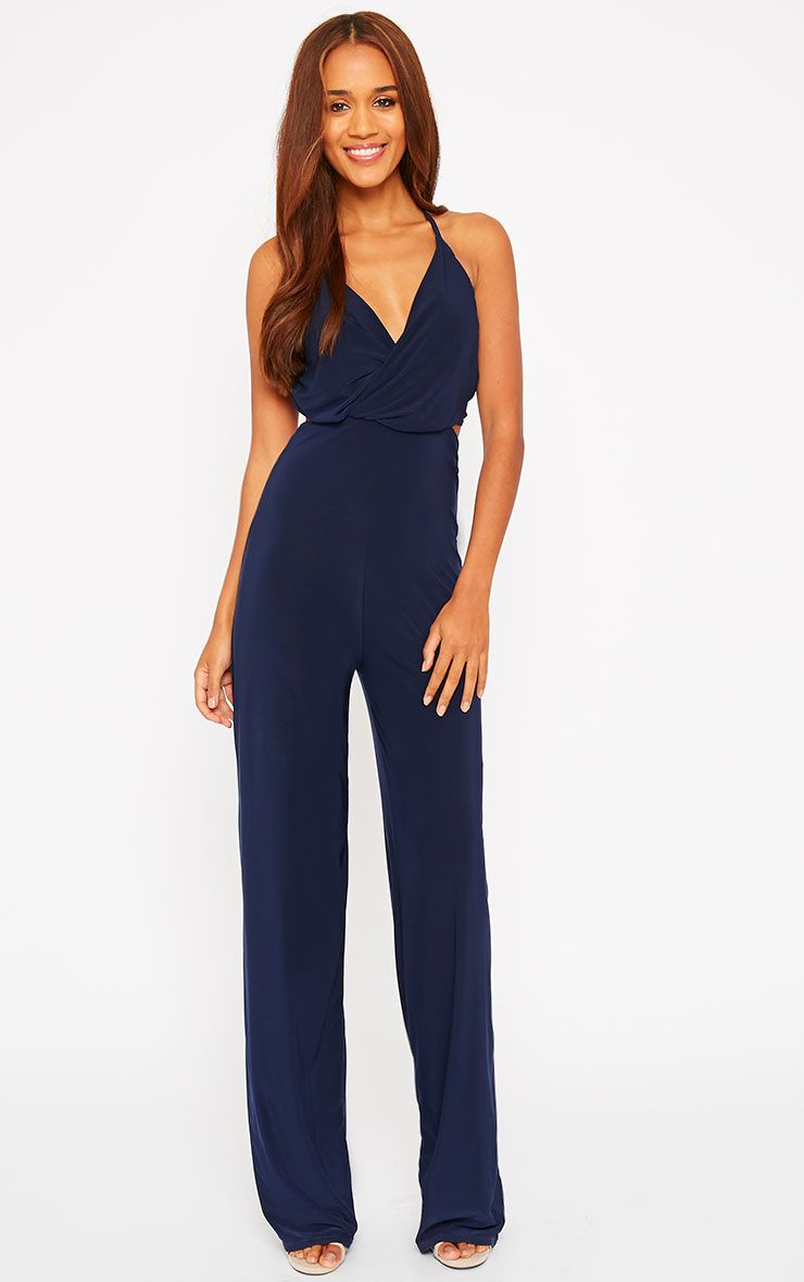 Tullia Navy Slinky Cross Front Wide Leg Jumpsuit 1