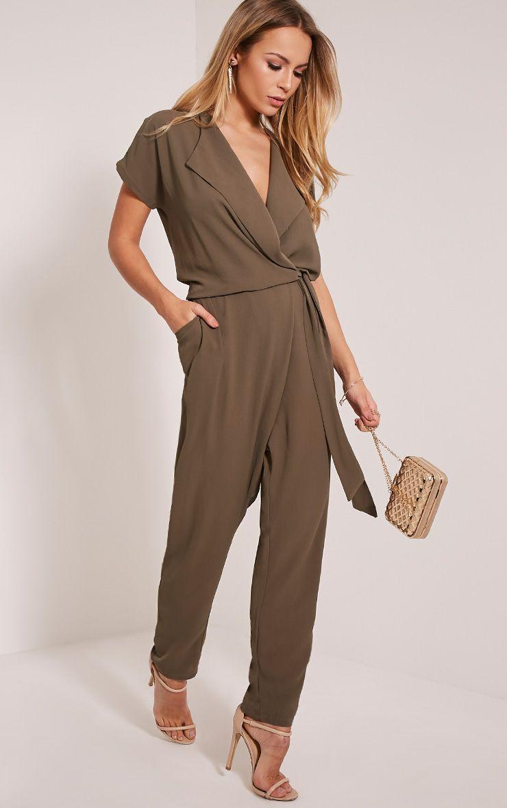 Dafney Khaki Cap Sleeve Wrap Jumpsuit 1
