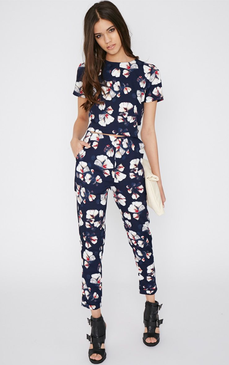 Michela Navy Floral Print Trouser 1