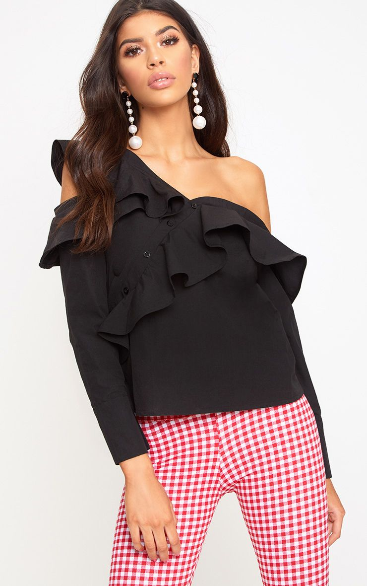 Black Off Shoulder Frill Shirt