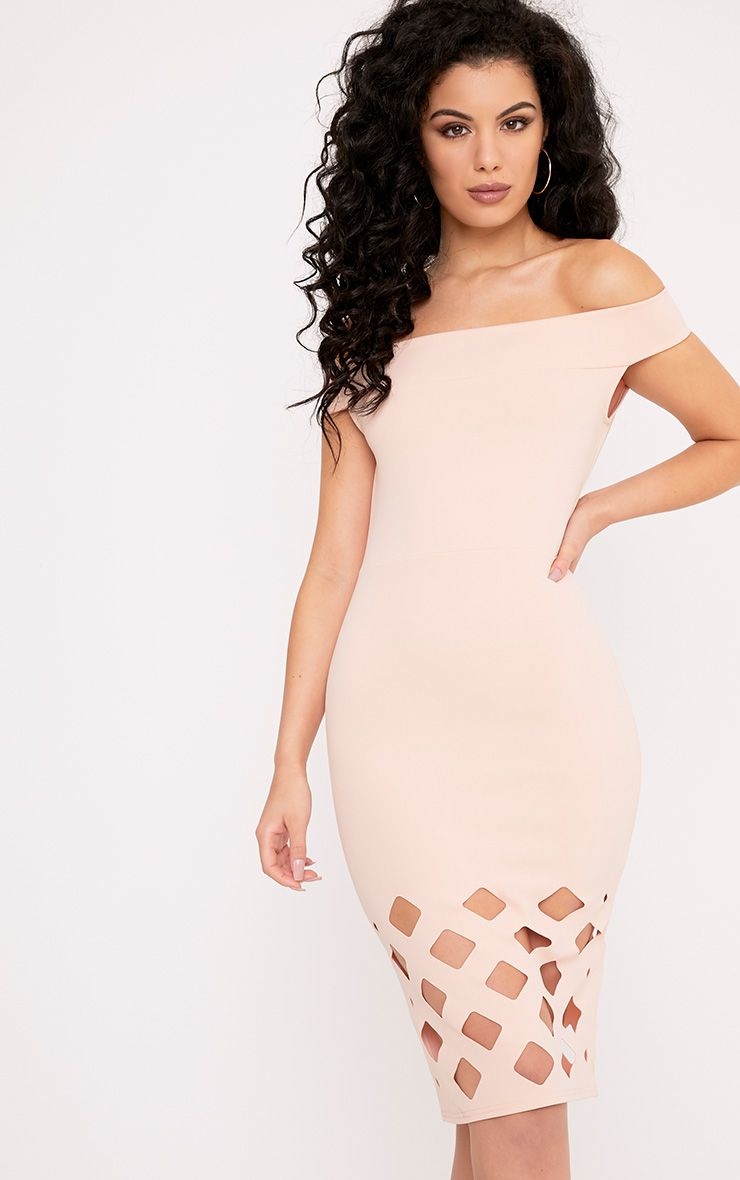 Cinny Nude Laser Cut Bardot Midi Dress