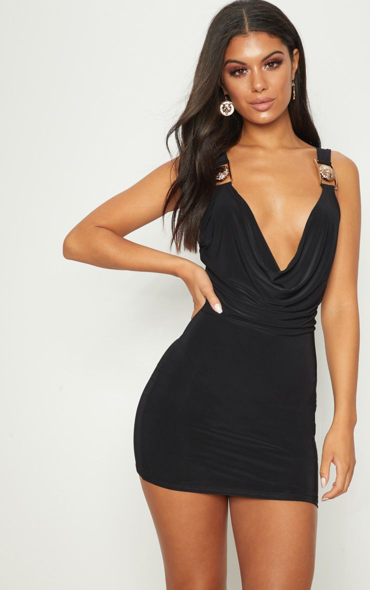 Black Lion Buckle Cowl Neck Slinky Bodycon Dress Pretty Little Thing Sale Find Great 2018 Cheap Online Cheap Low Shipping Fee Clearance Inexpensive Low Price Sale 4AfcmBM
