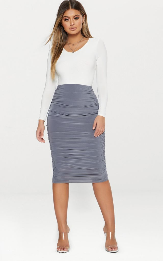 Grey Second Skin Slinky Ruched Midi Skirt