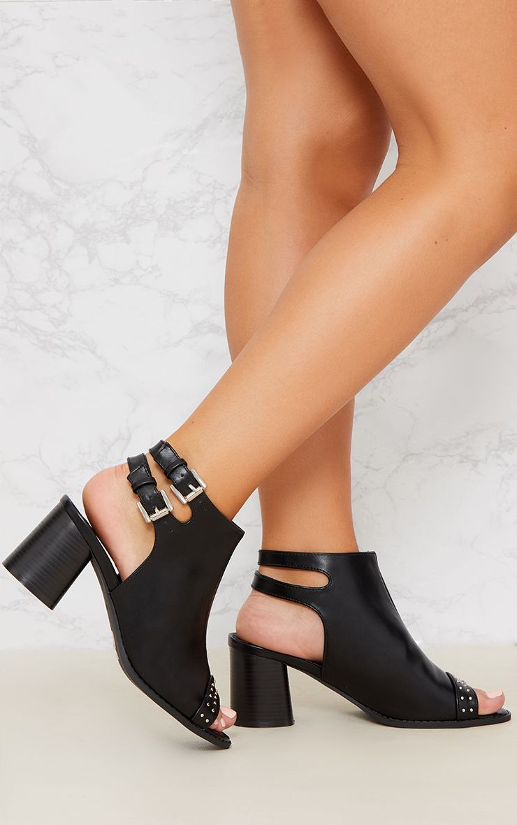 Black Buckle Cut Out Studded Ankle Boot