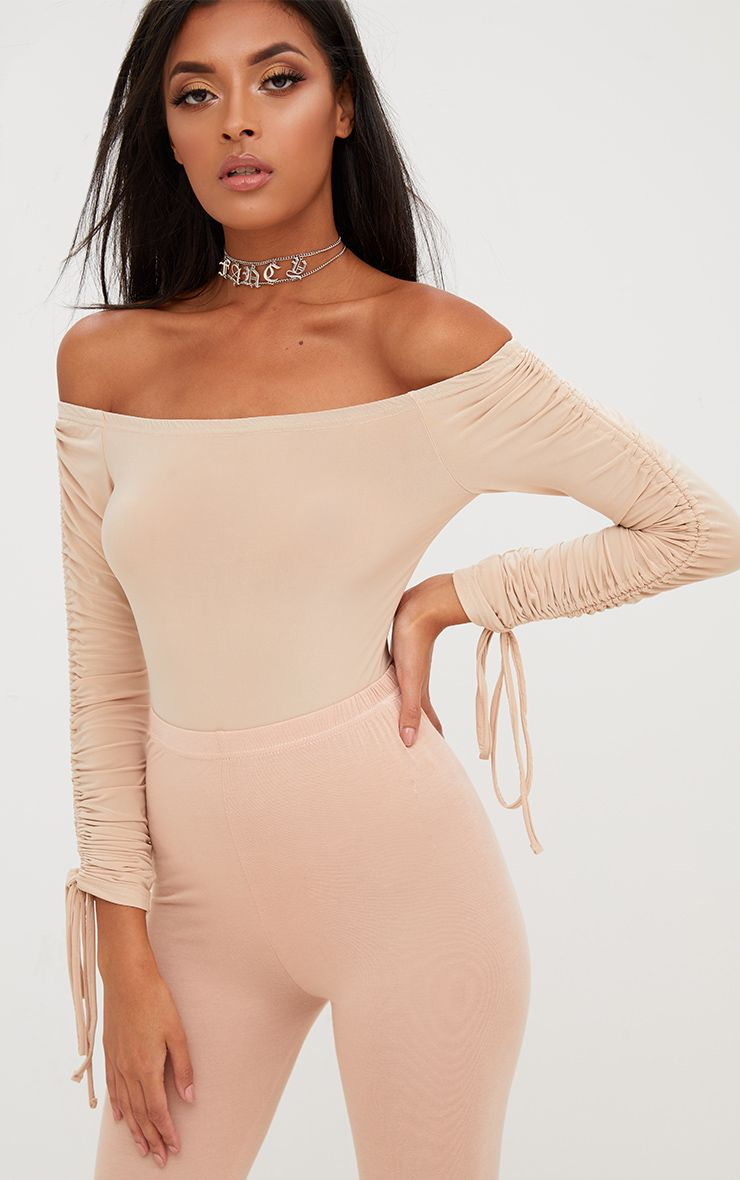 Nude Ruched Tie Sleeve Bardot Thong Bodysuit