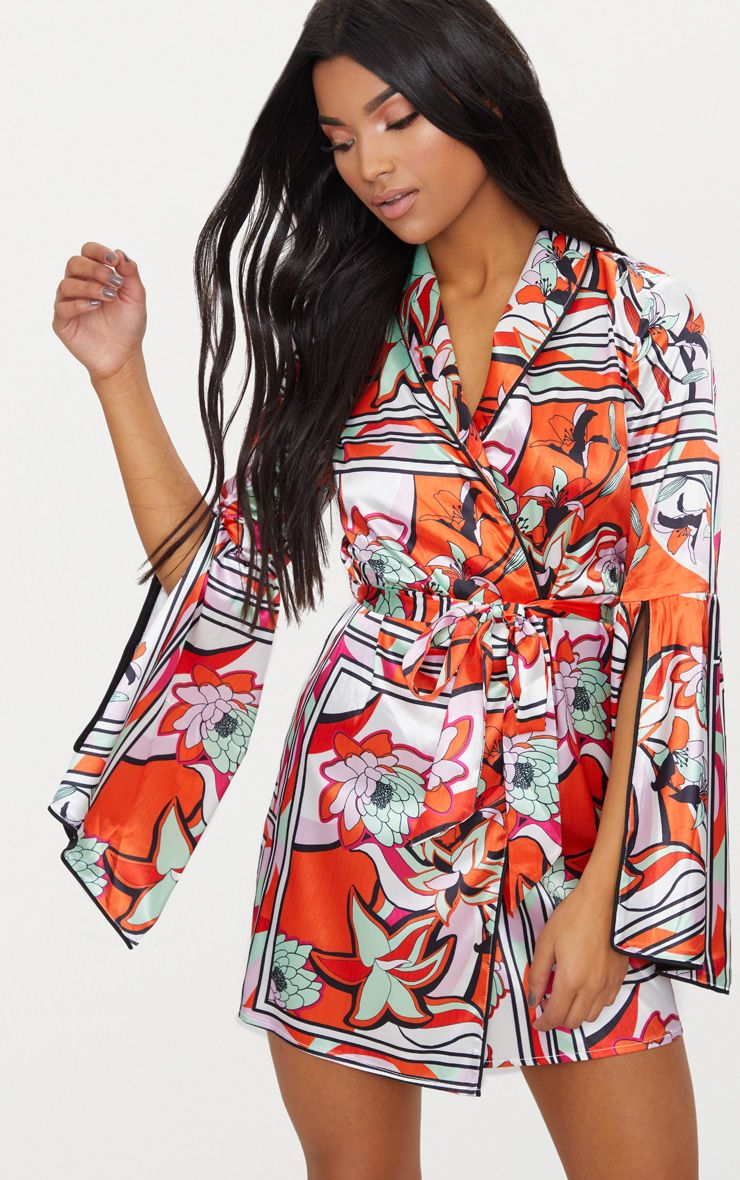 Orange Floral Satin Flare Sleeve Binding Detail Blazer Dress 1