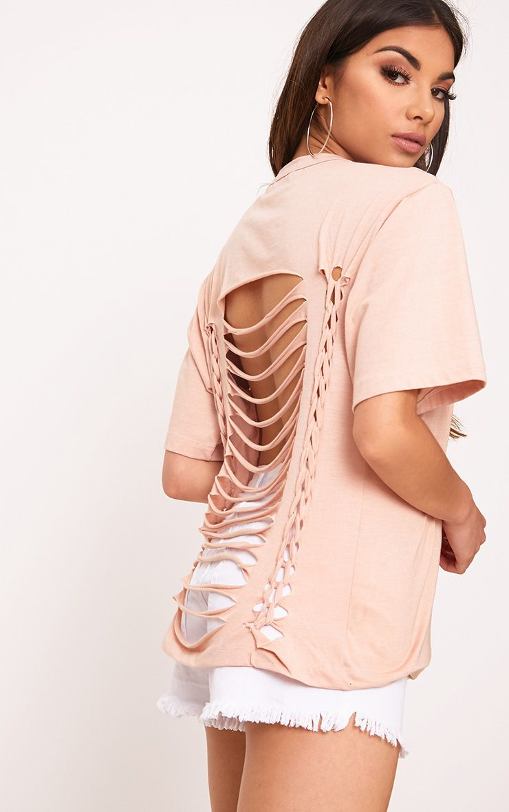 Jaydaa Nude Extreme Back Rip Jersey T Shirt