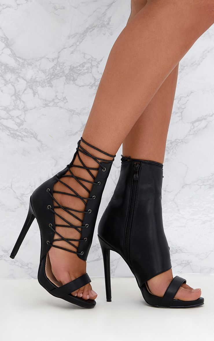 Black Lace Up Side Heels