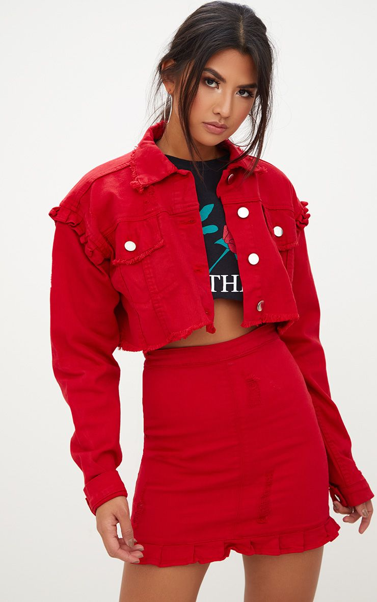 Red Ruffle Cropped Denim Jacket . Coats & Jackets ...