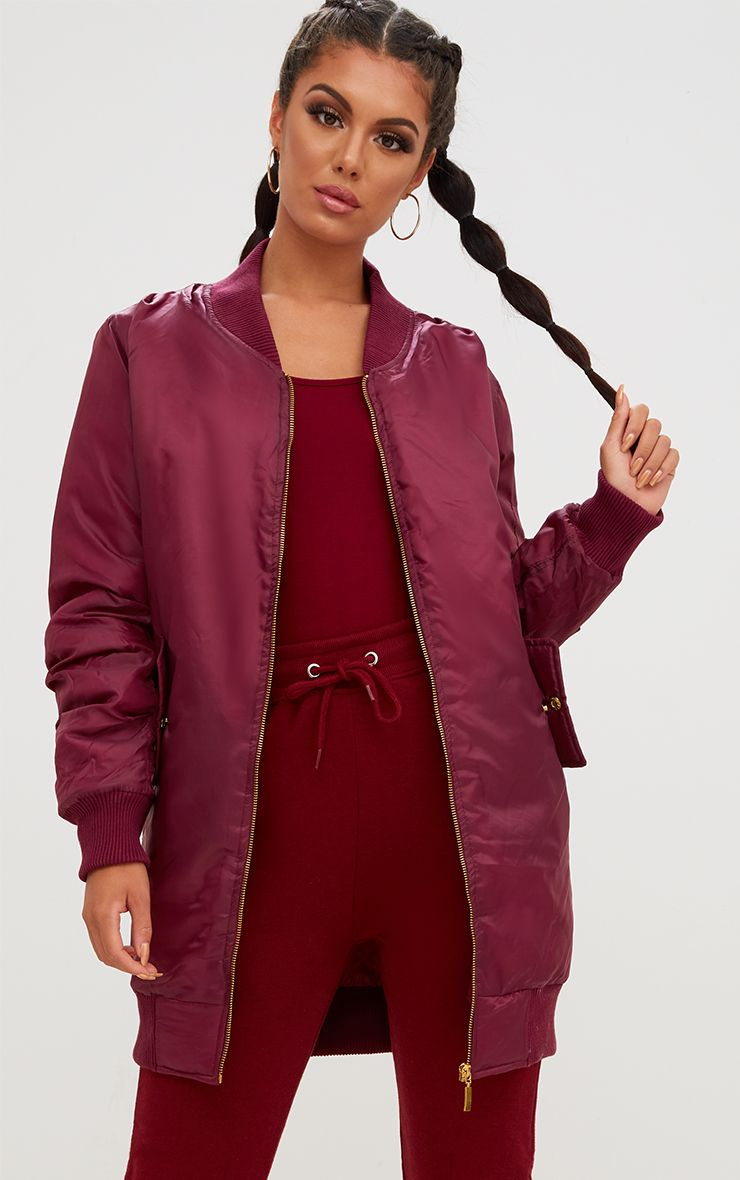 Product photo of Burgundy longline bomber jacket red