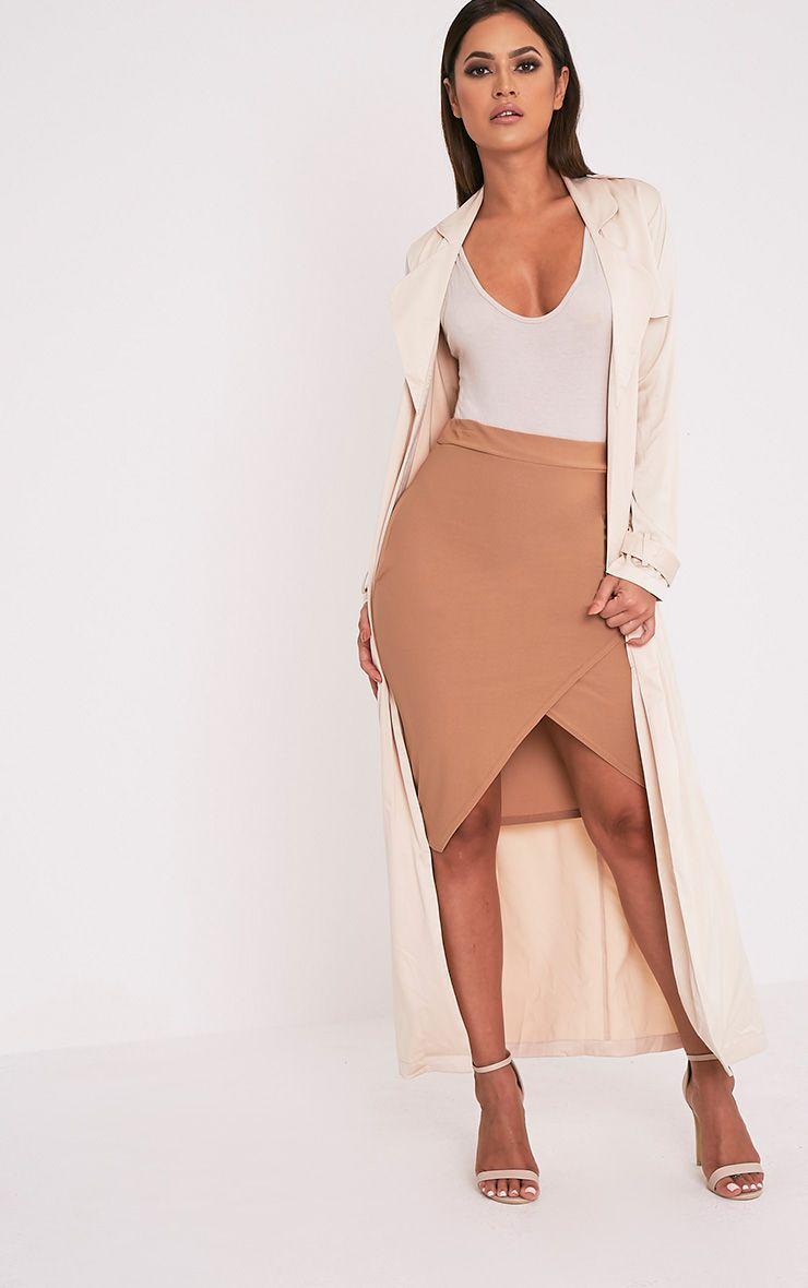 Aislynn Camel Wrap Midi Skirt 1