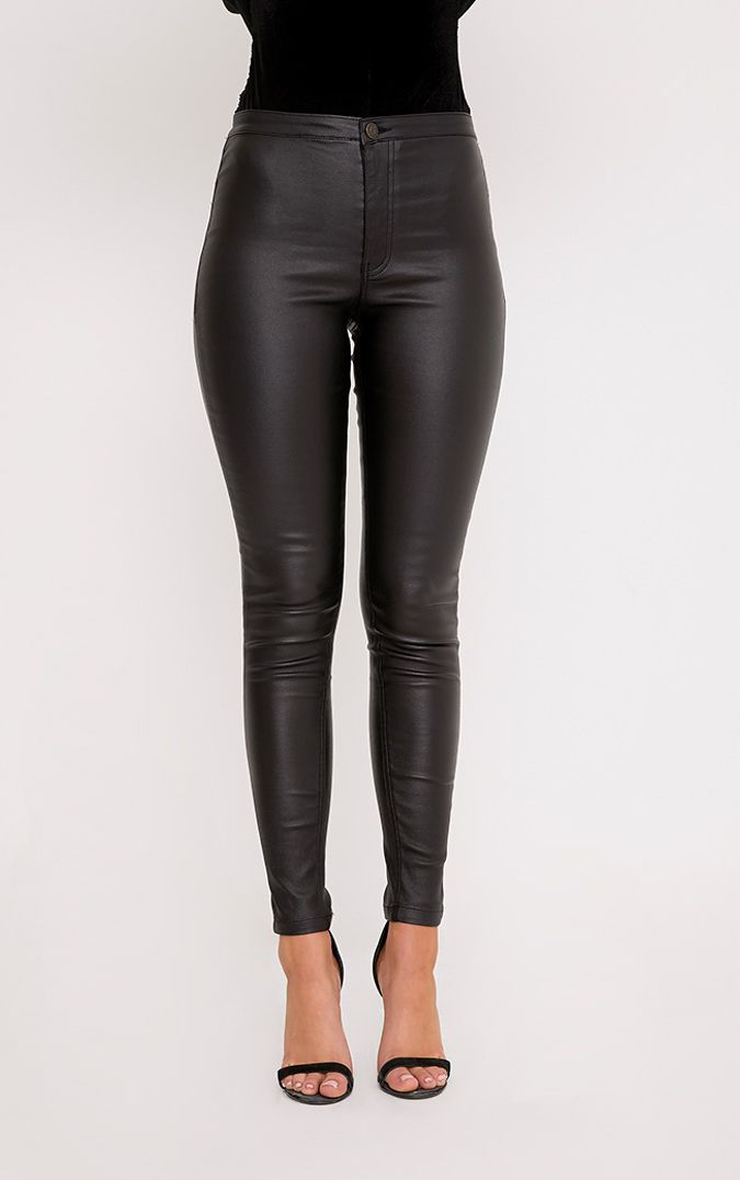 BLACK COATED DENIM SKINNY JEAN
