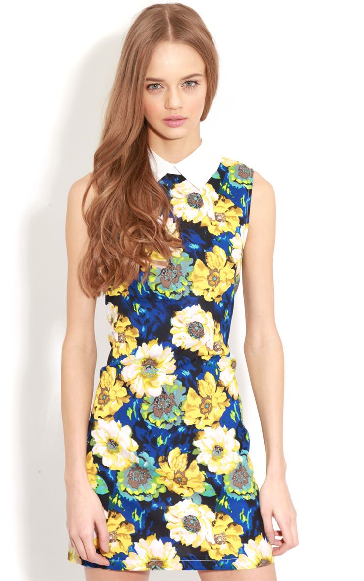 Josie Blue Floral Collar Shift Dress 1