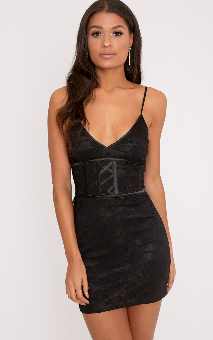 Sasha Black Corset Detail Strappy Lace Bodycon Dress