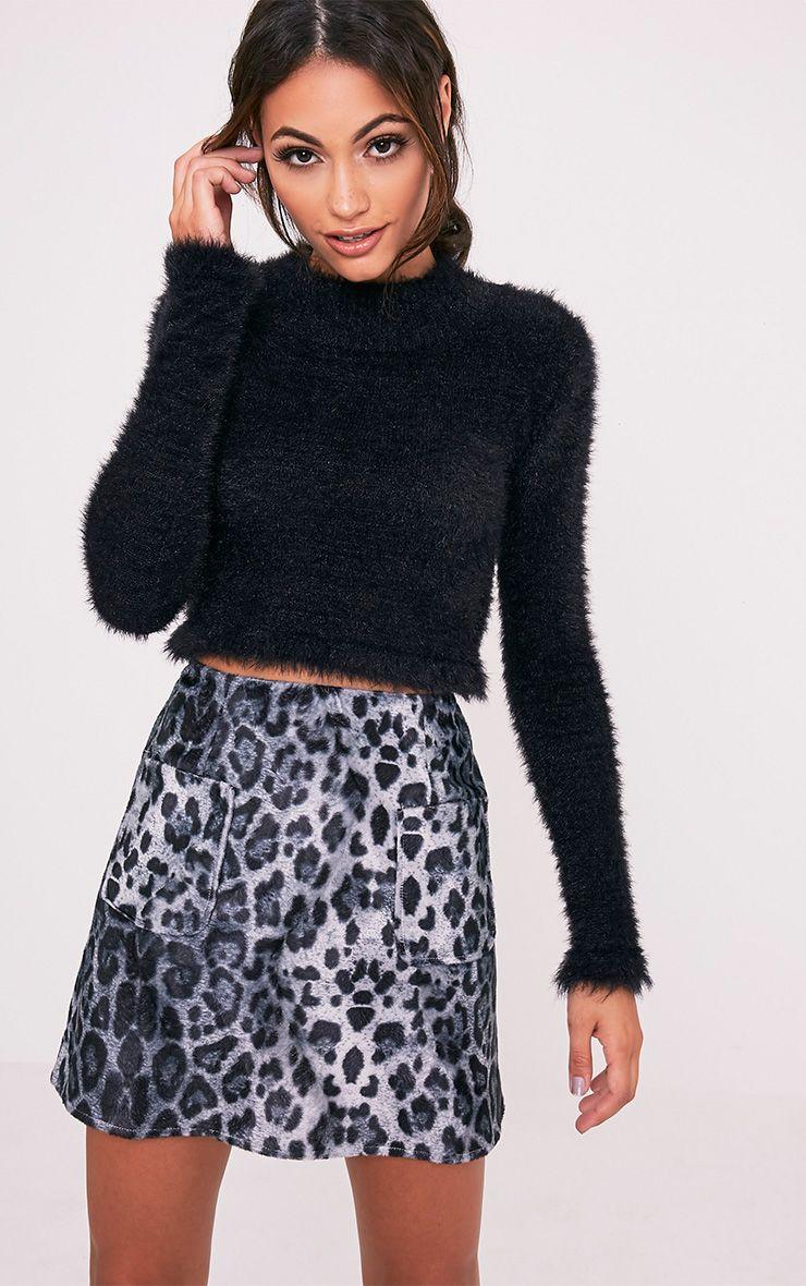 Julissa Grey Leopard Print Textured A-Line Mini Skirt