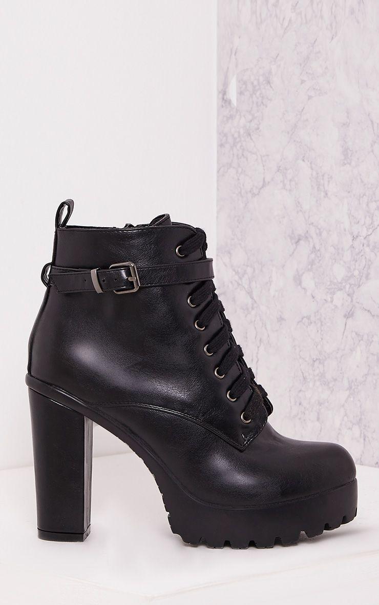 Audrinna Black Lace Platform Ankle Boots