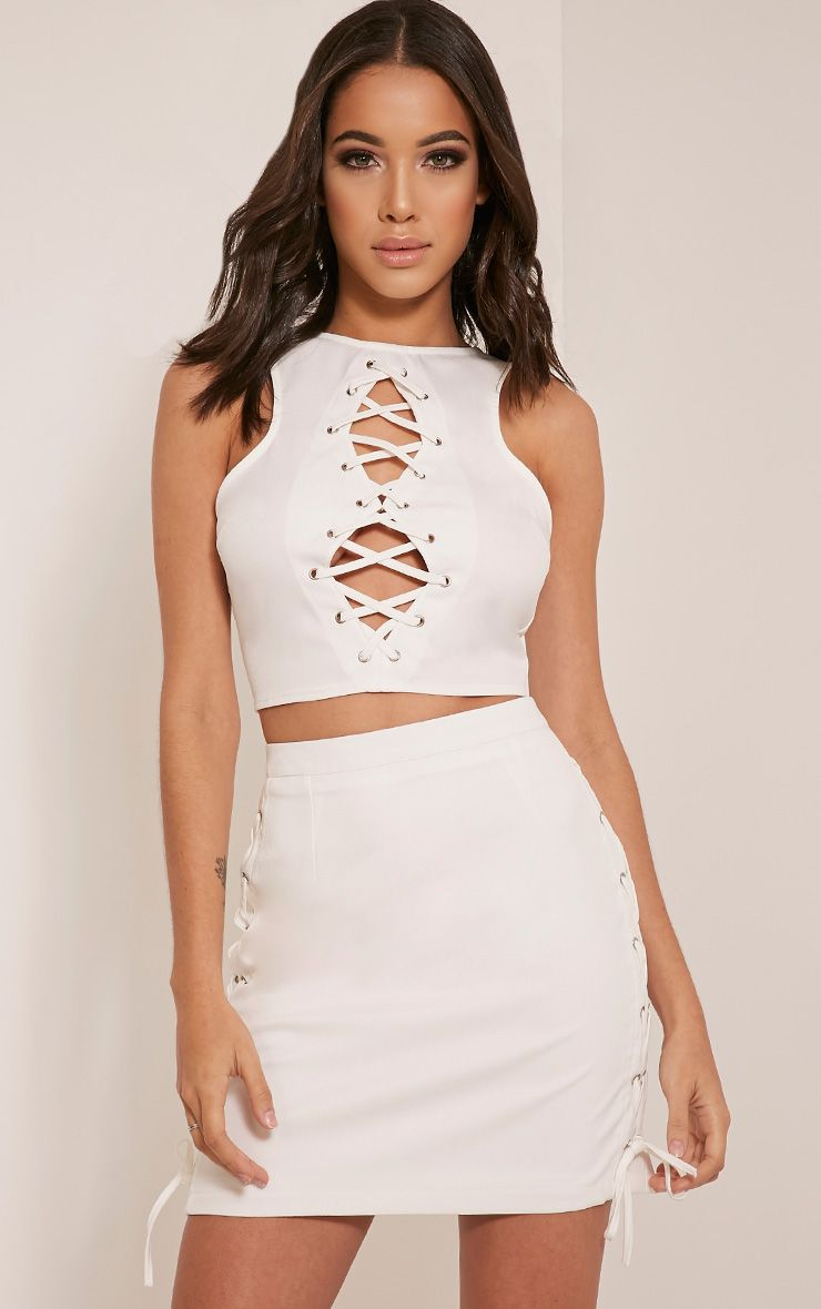 Zoya White Lace Up Crop Top 1