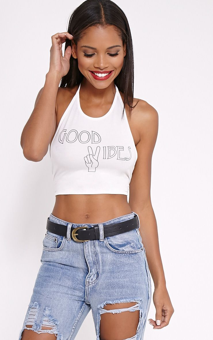 Hildy White 'Good Vibes' Crop Top 1