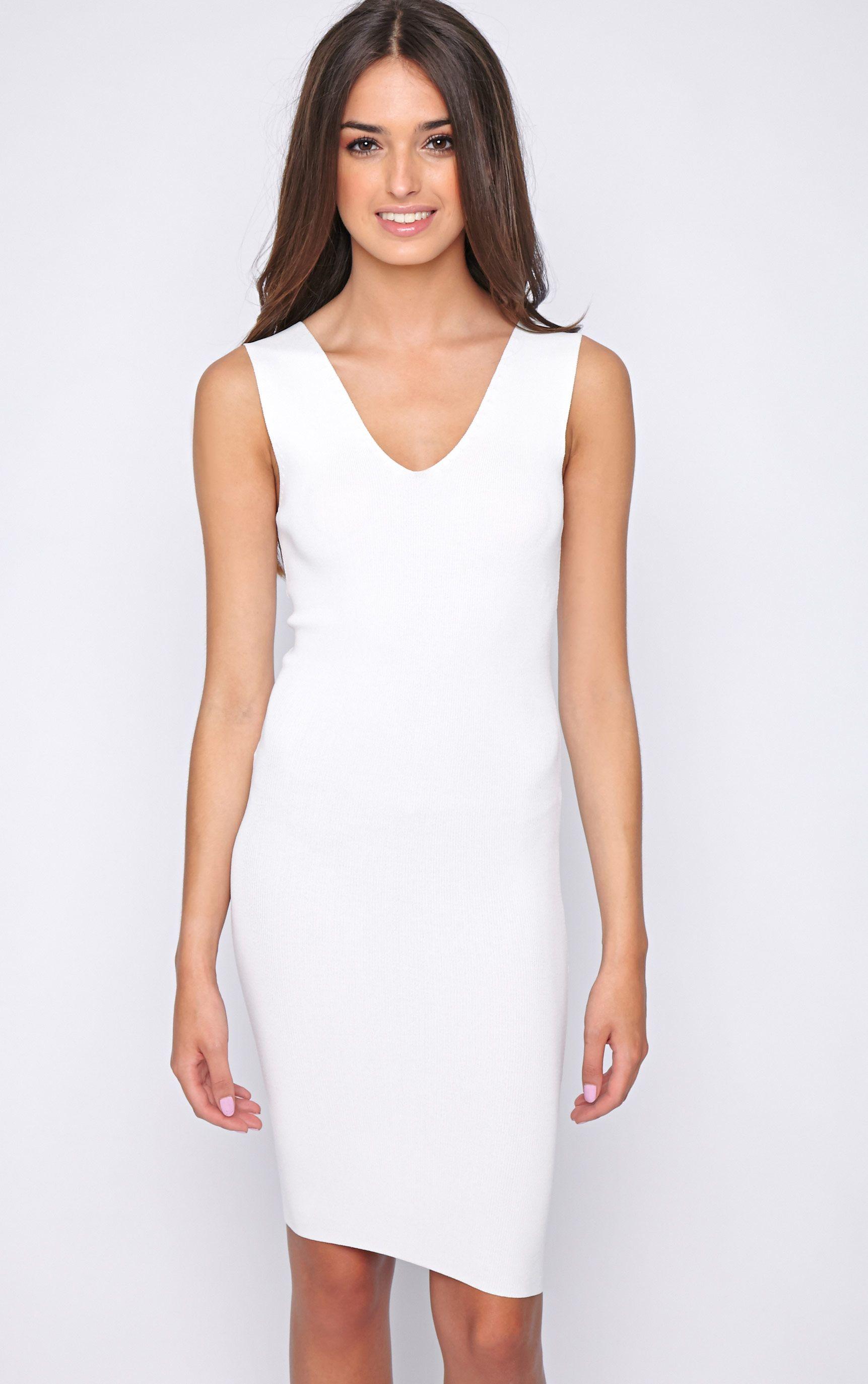 Becky White Bodycon Stretch Dress 1