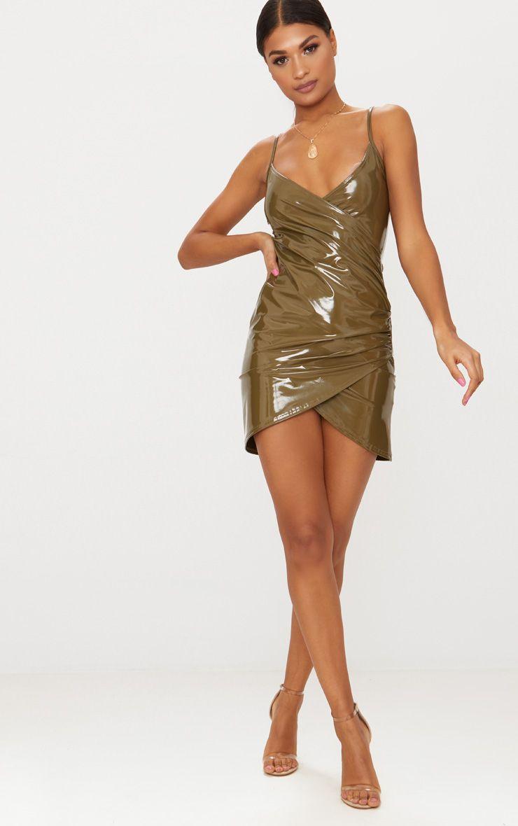Olive Green Vinyl Wrap Detail Plunge Bodycon Dress Pretty Little Thing jm6dD00Ex