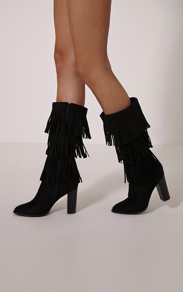 Trudey Black Suede Tassle Knee Boots 1