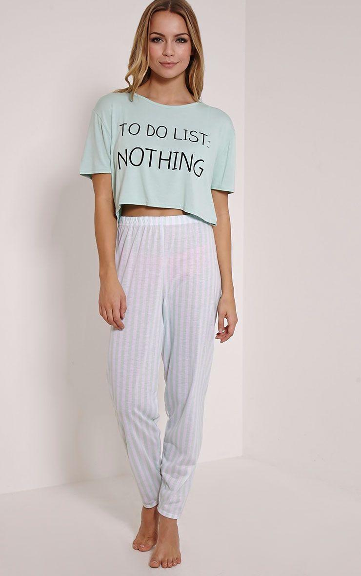 To Do List Mint Pyjama Set 1