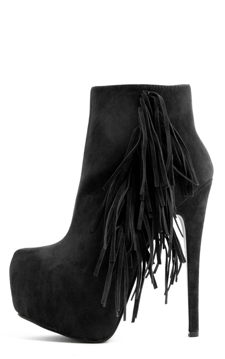 Ally Black Fringe HIgh Heel Ankle Boots 1
