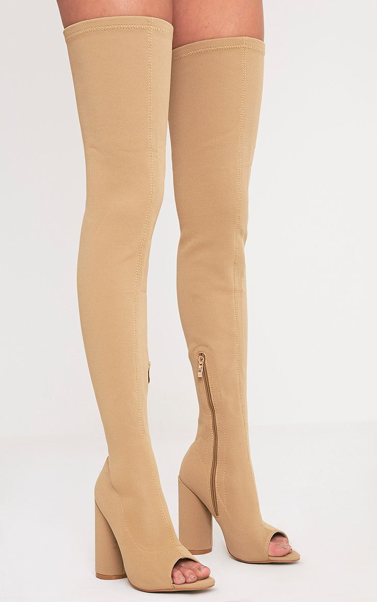 Beccy Stone Knitted Peep Toe Thigh Boots 1