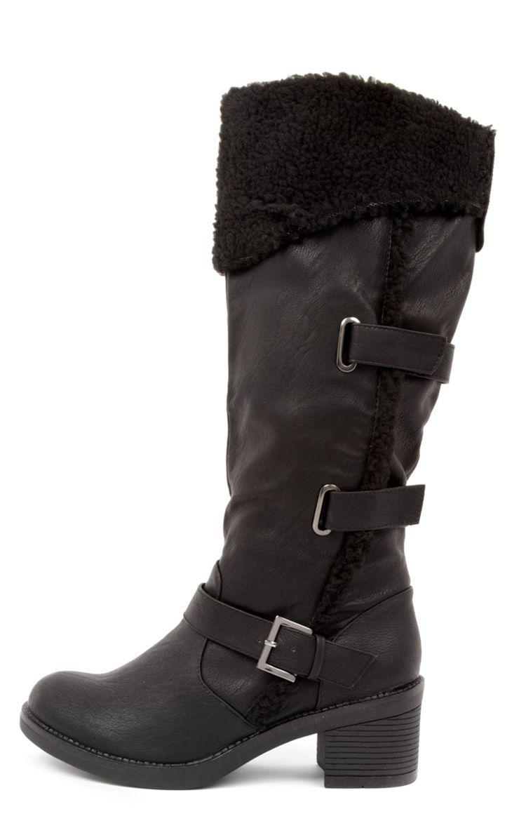 Product photo of Helina black shearling heeled biker boots black