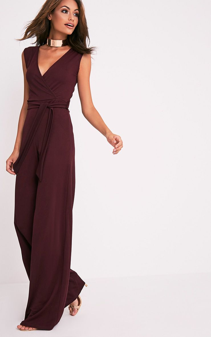 Harriet Aubergine Wrap Detail Tie Waist Jumpsuit